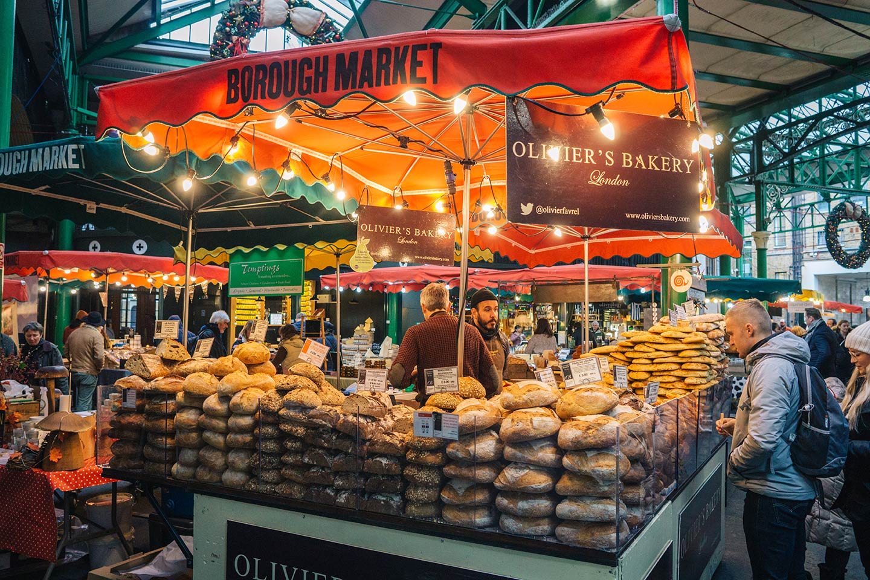 Baker bread stall at Borough market