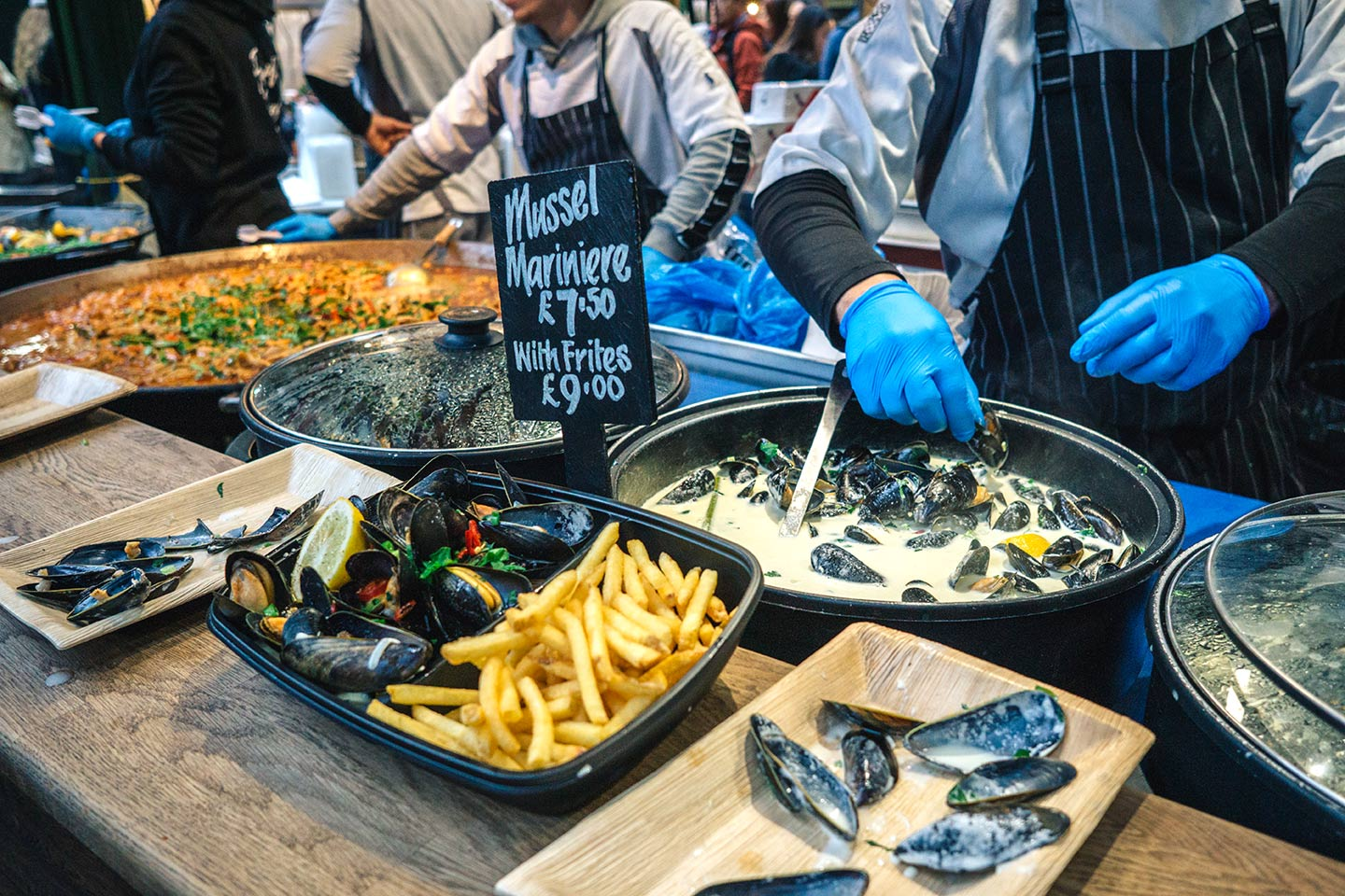 mussels and frites stall at Borough market