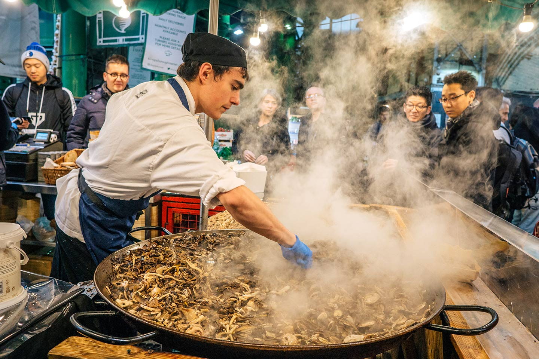 mushrooms stall at Borough market