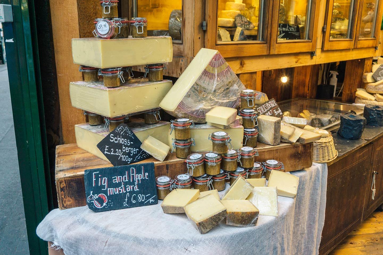 cheese stall at Borough market