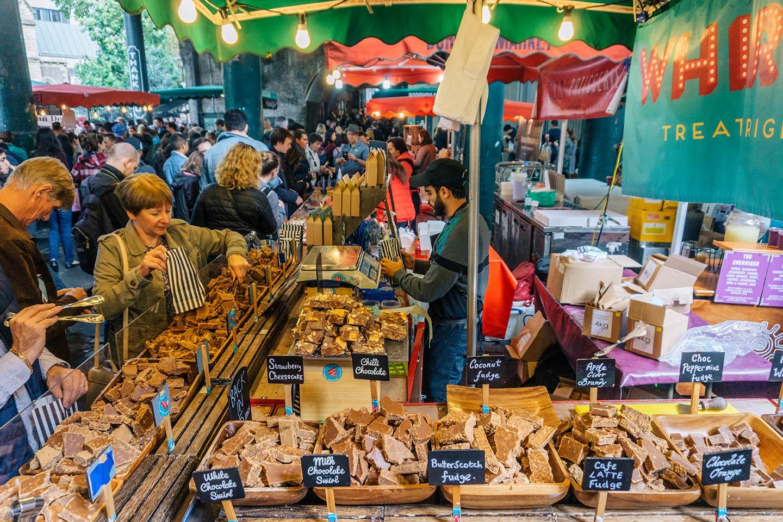 fudge stall at Borough market
