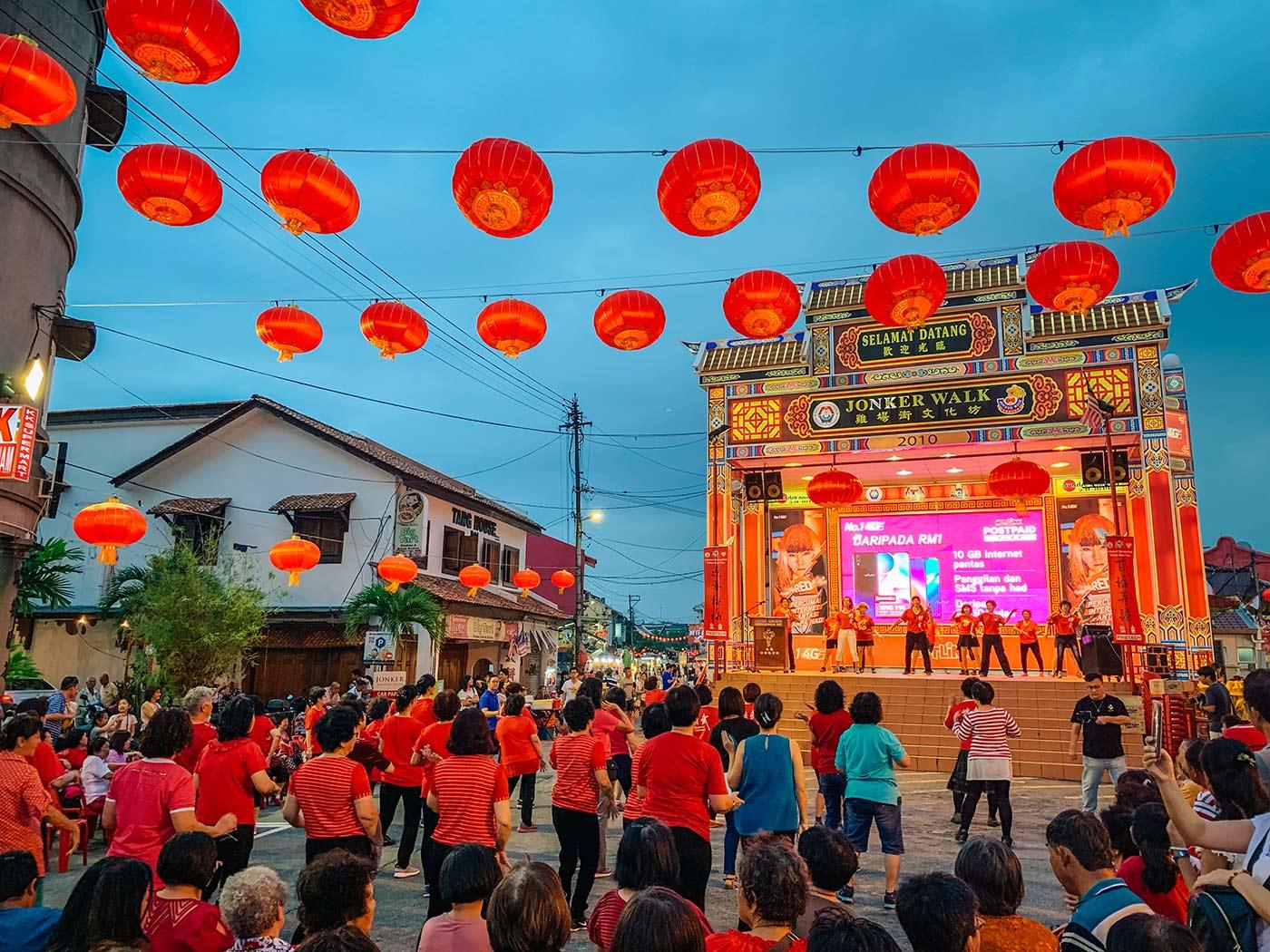 Jonker Street night market melaka stage
