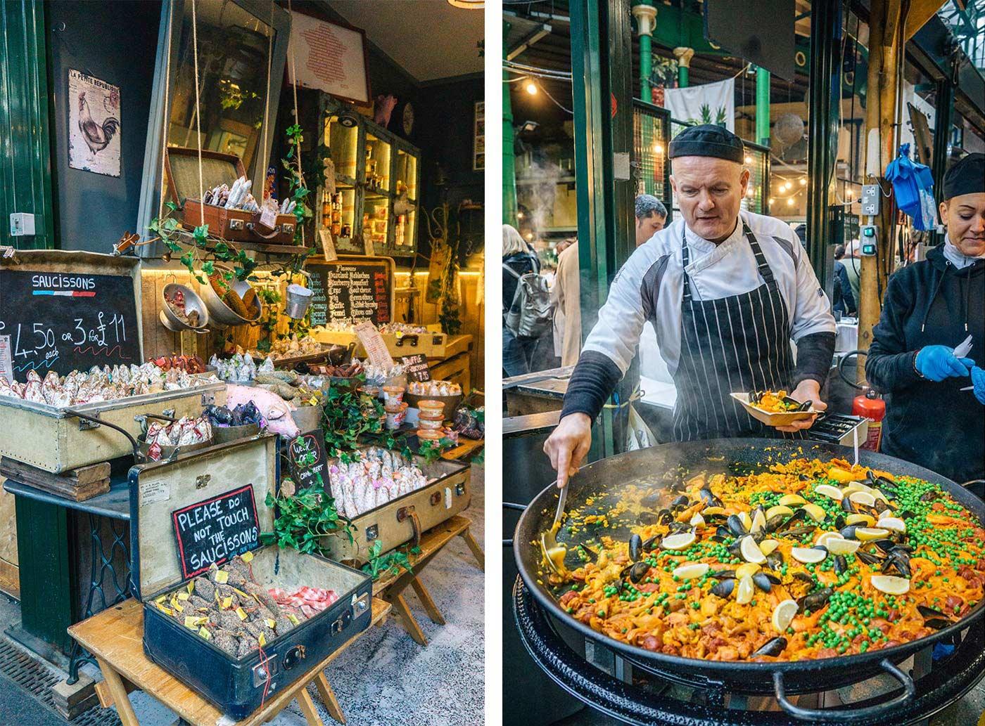 paella stall at Borough market