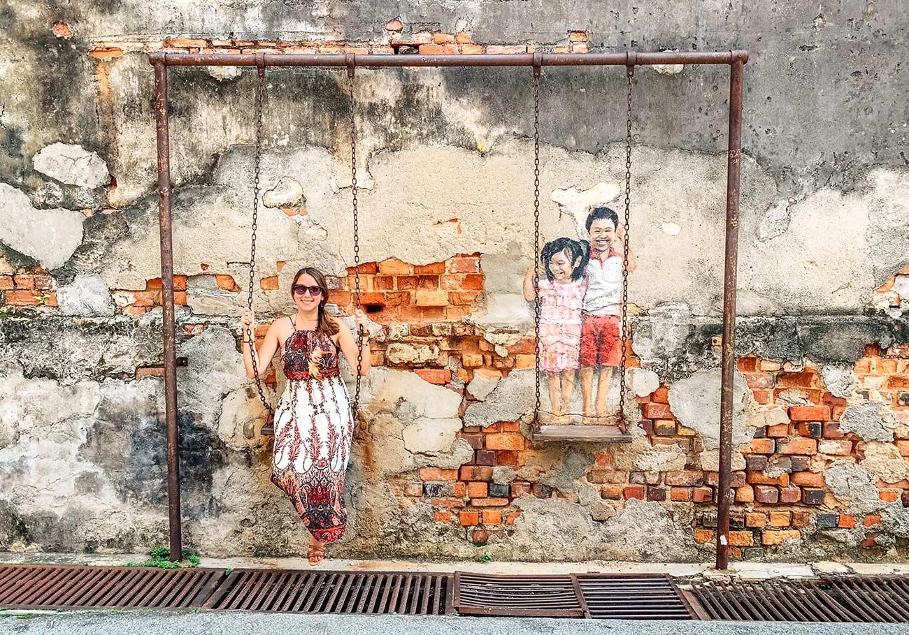 Street art swing Georgetown Penang Malaysia