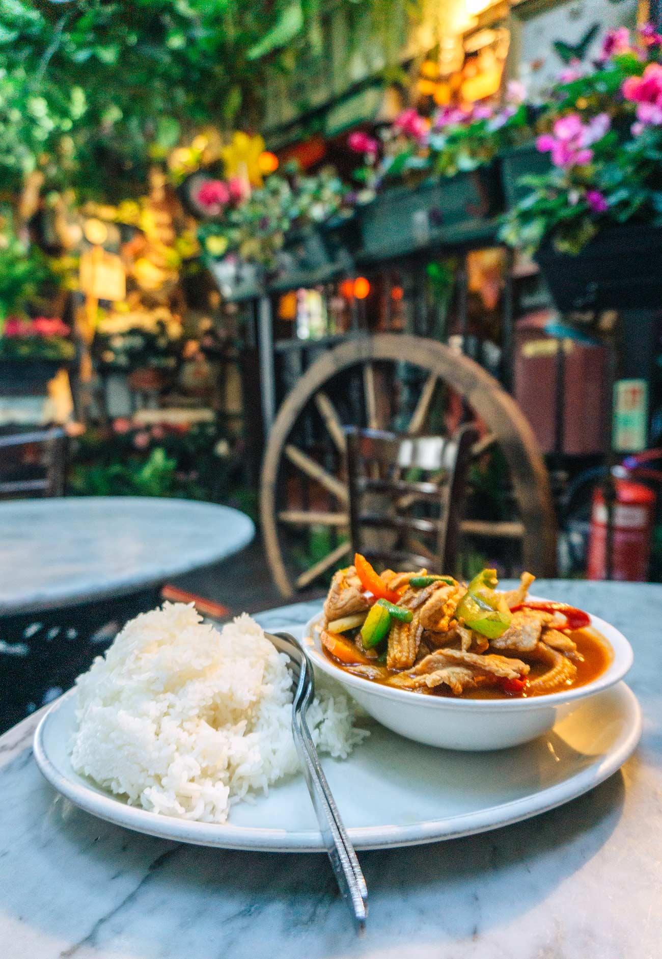 Thai food at the Churchill Arms pub London