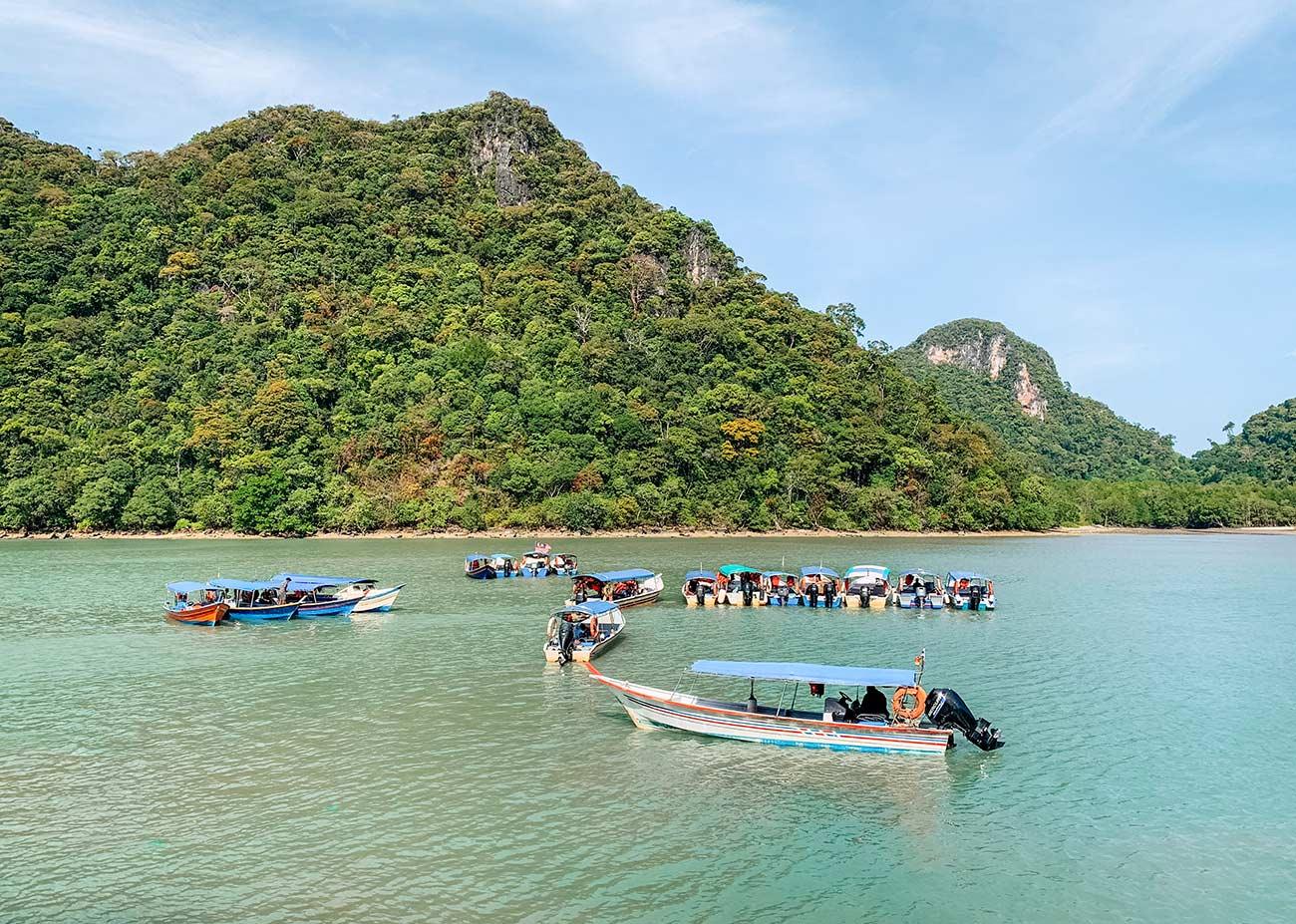 Pulau Dayang Bunting island Langkawi Malaysia and tourist boats