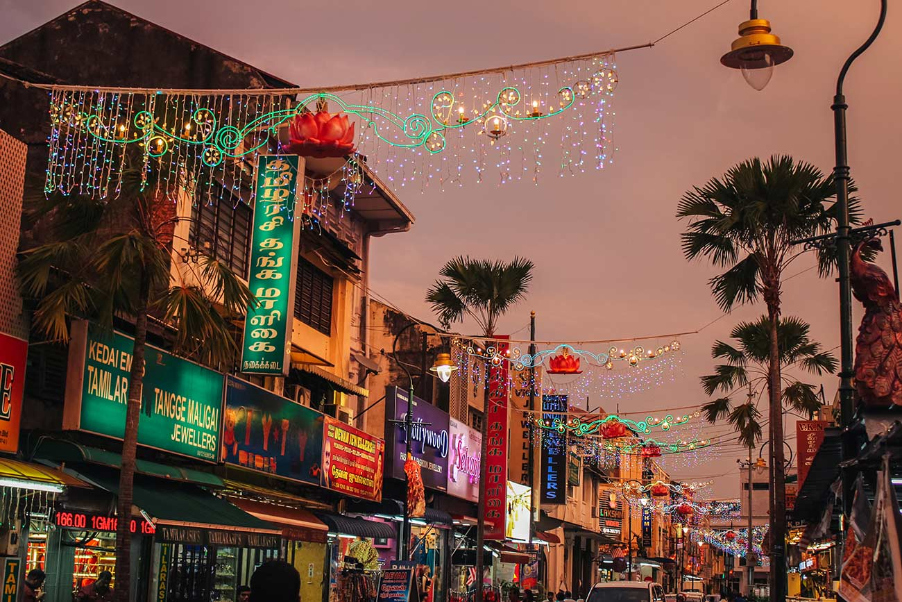 Little India at night in Georgetown Penang