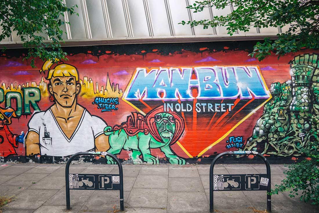 Redchurch Street / Sclater Street  He Man Man Bun street art Shoreditch London