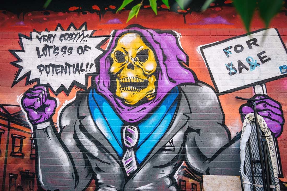 Redchurch Street / Sclater Street  He Man skelator street art Shoreditch London
