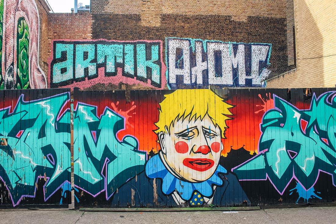 Fashion Street street art Boris Johnson clown