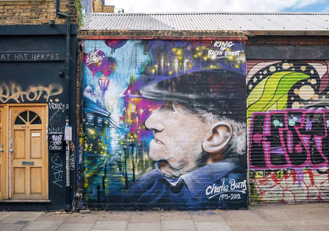 Brick Lane street art Charlie Burns