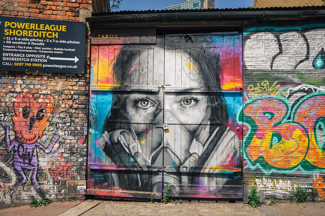 Brick Lane gas mask mural art