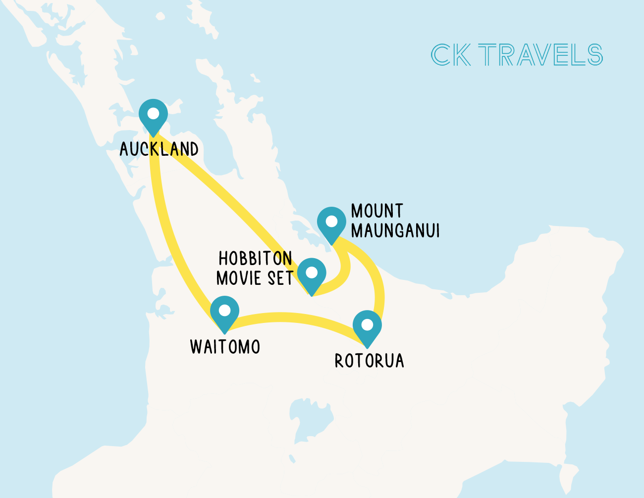 Auckland to Rotorua drive itinerary map north island