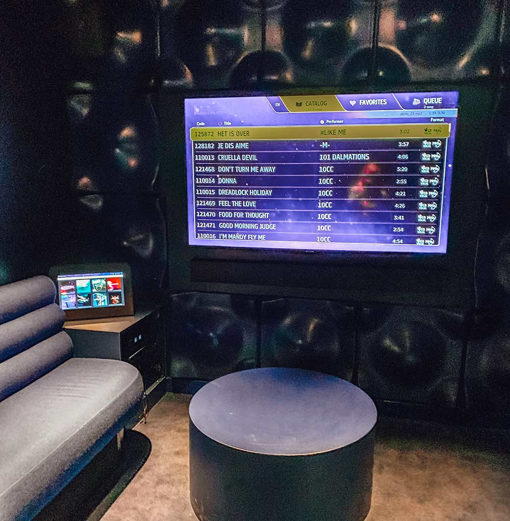 The 'Groupie' private karaoke room onboard Virgin Voyages Scarlet Lady cruise ship
