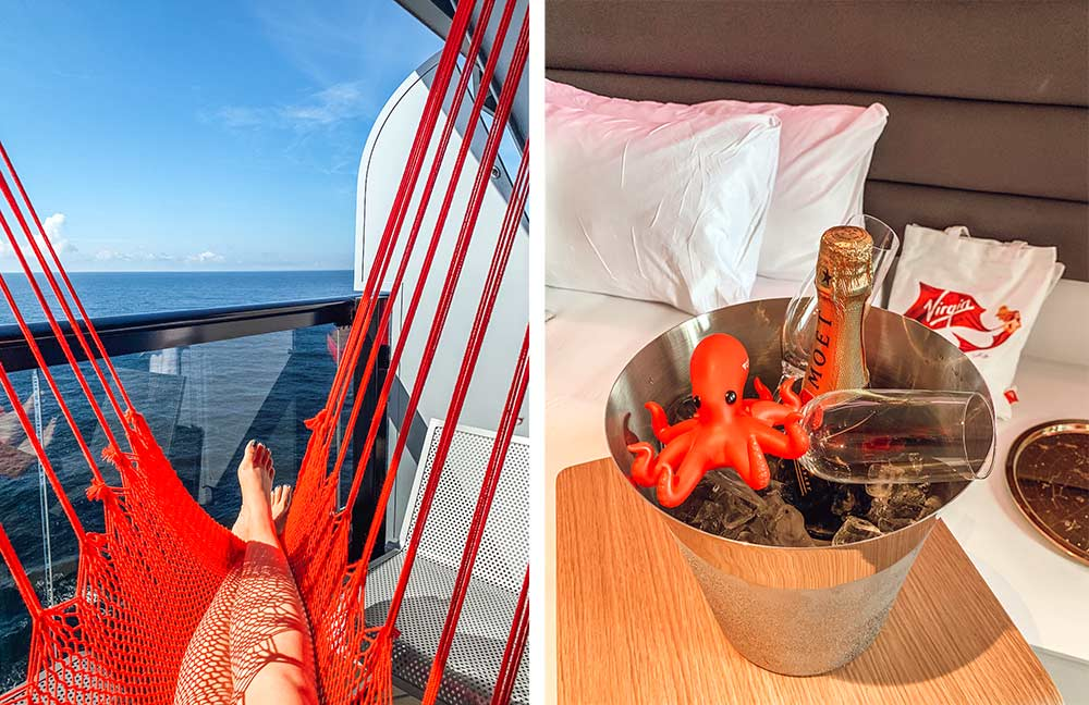 Virgin Voyages Scarlet Lady onboard cabins room. Champagne and hammock