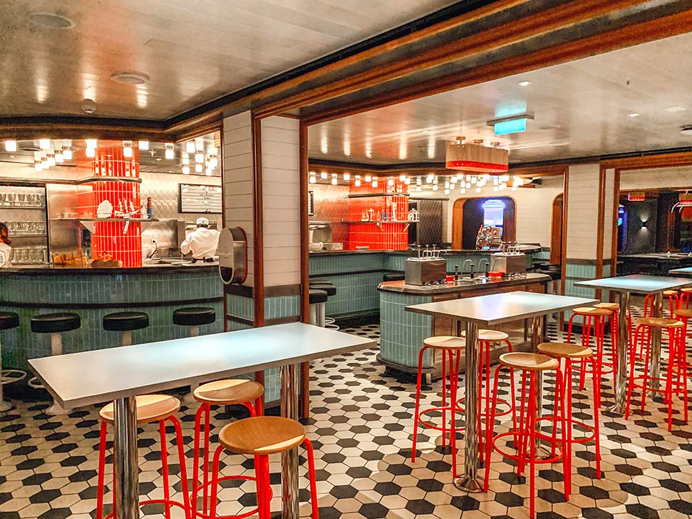 The Social Club American style diner onboard Virgin Voyages Scarlet Lady cruise ship