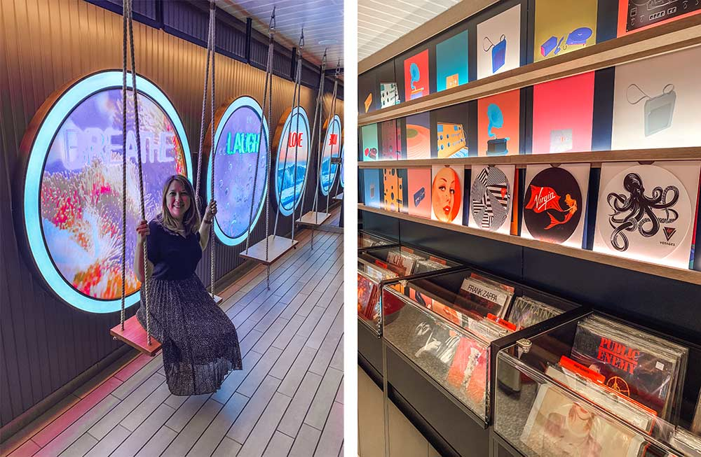 Virgin Voyages Scarlet Lady cruise ship - record shop and swings