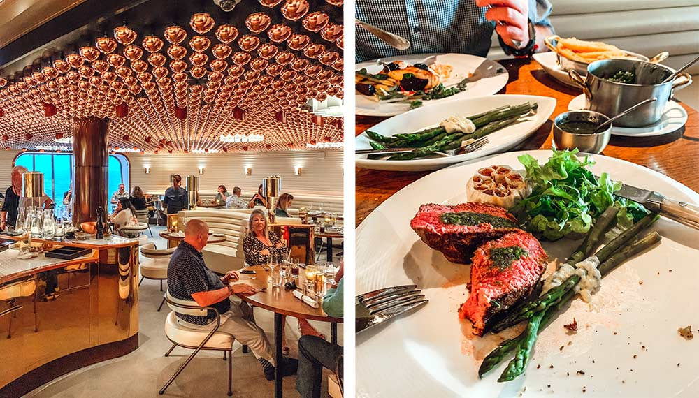 The Wake steak and seafood restaurant onboard Virgin Voyages Scarlet Lady cruise ship