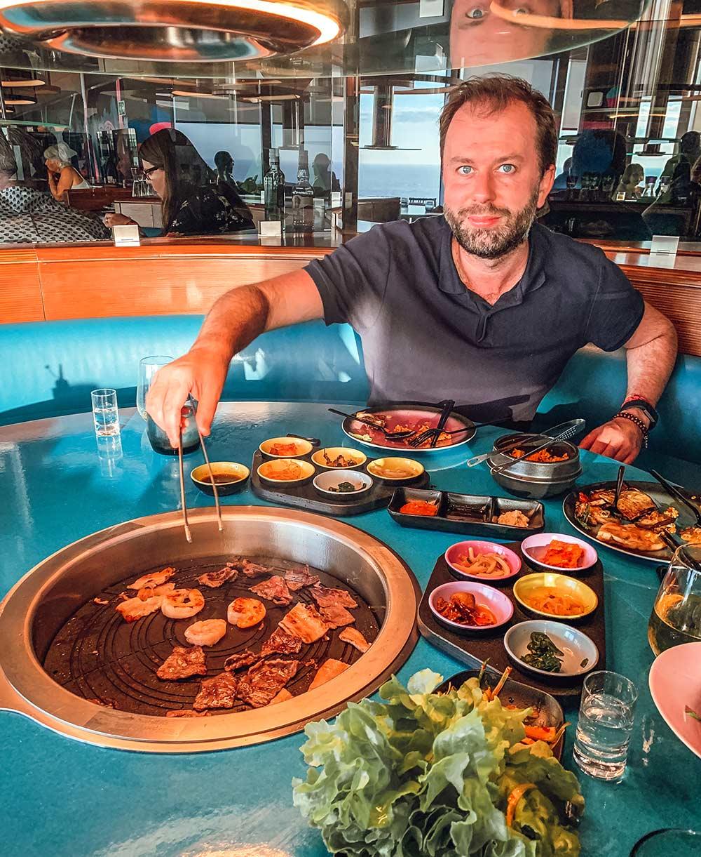 Gunbae South Korean BBQ  restaurant onboard Virgin Voyages Scarlet Lady cruise ship