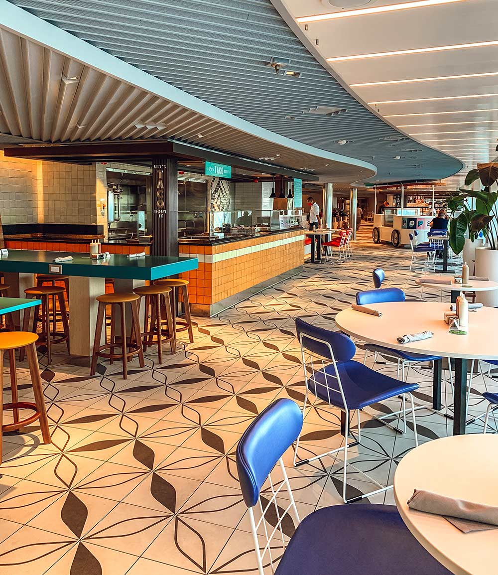 The Galley food court onboard Virgin Voyages Scarlet Lady cruise ship