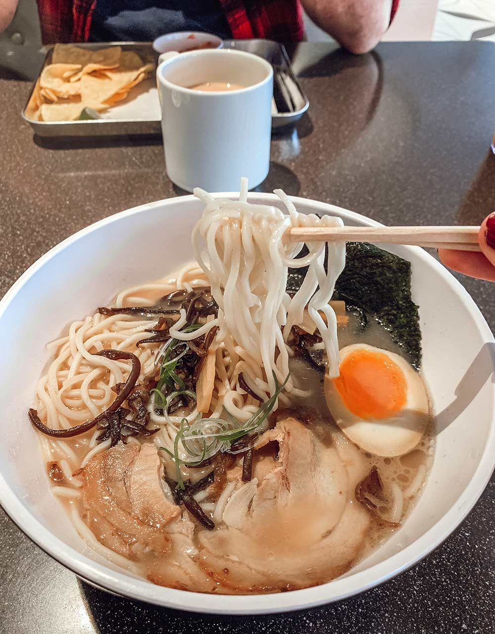 Japanese ramen at the Galley food court onboard Virgin Voyages Scarlet Lady cruise ship