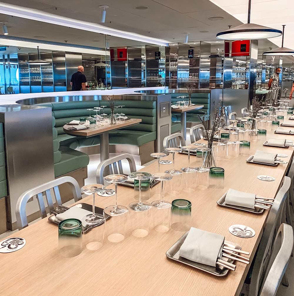 Test Kitchen restaurant onboard Virgin Voyages Scarlet Lady cruise ship