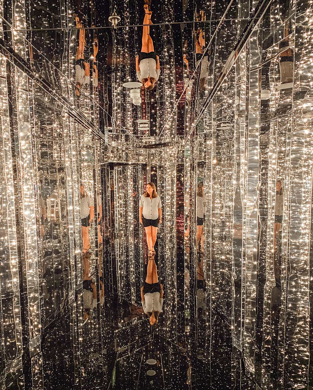 The Manor nightclub mirrored entrance onboard Virgin Voyages Scarlet Lady cruise ship