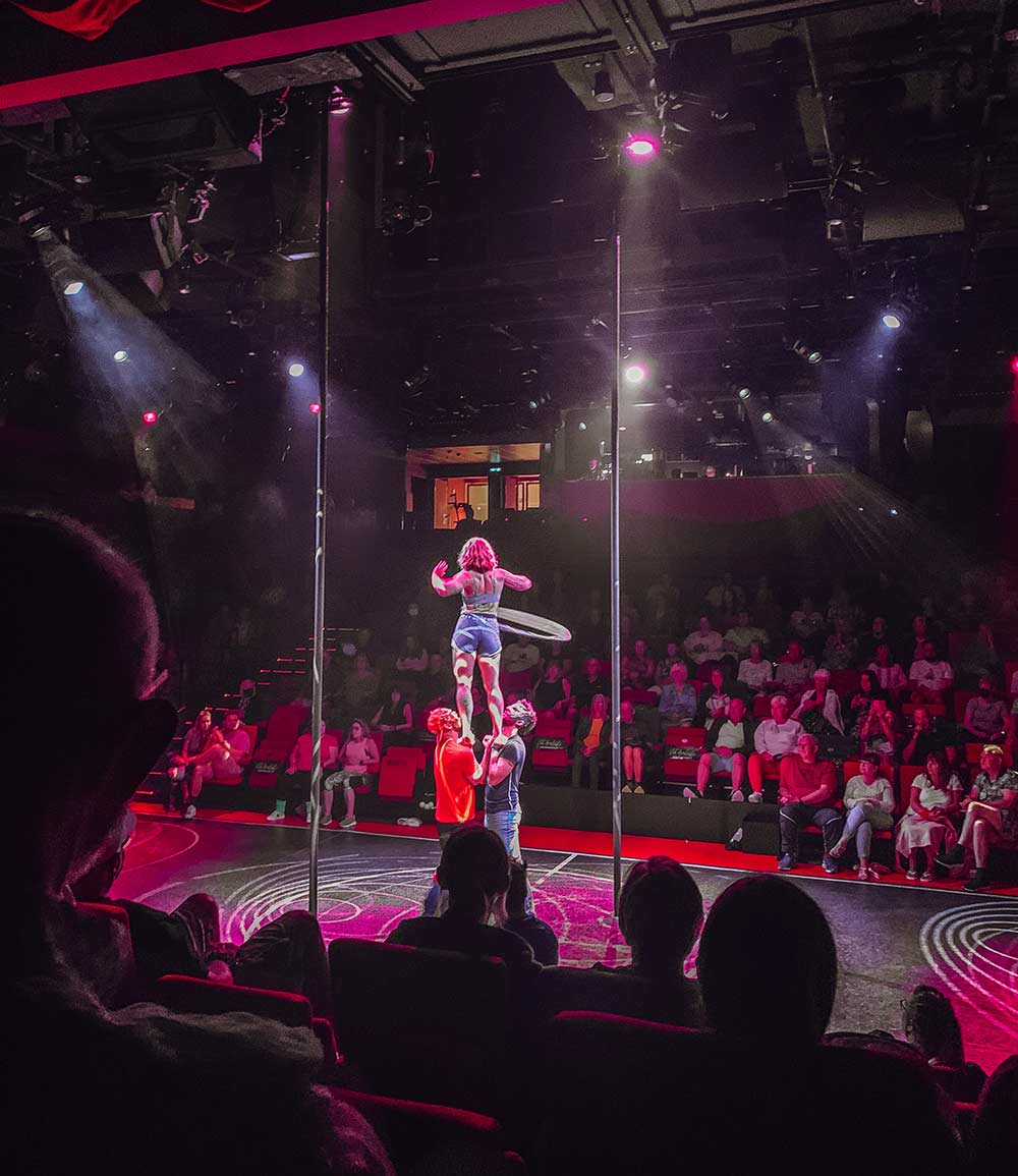 Duel Reality Stage Show onboard Virgin Voyages Scarlet Lady cruise ship