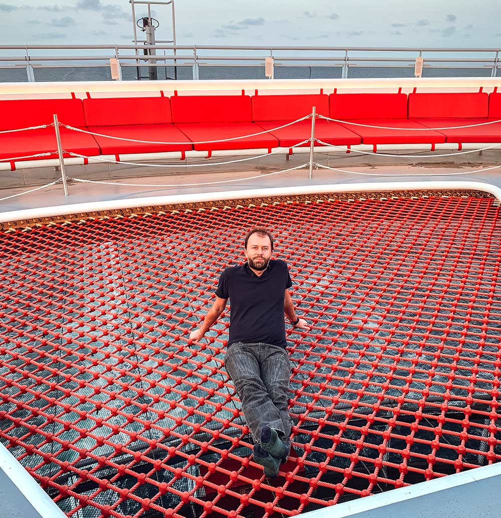 The net onboard Virgin Voyages Scarlet Lady cruise ship